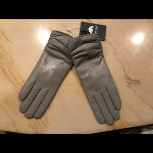 Accessories - Grey genuine leather gloves